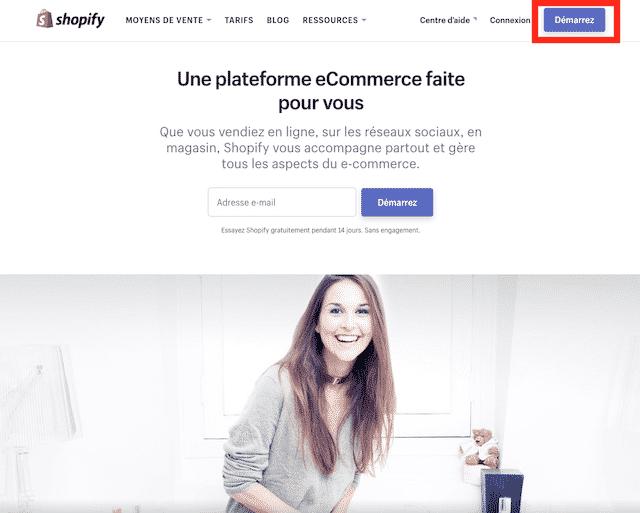 démarrer shopify